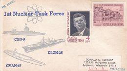 1st NUCLEAR TASK FORCE, CGN-9 DLGN-25 CVAN-65. ARGENTINE ENVELOPPE CIRCA 1964 NON CIRCULEE -LILHU - Atom