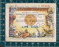 ITALIA Ticket Biglietto Ingresso Beni Culturali Galleria Uffizi Obliterato Perfin 16/08/90 - Tickets D'entrée