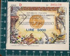 ITALIA Ticket Biglietto Ingresso Beni Culturali - Tickets D'entrée