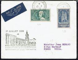 """Fr - Timbre N° 381 Et 399 Sur Enveloppe """"Inauguration De L'Hotel Des Postes De Lyon""""Cachet 17-7-38 Pour Paris - B/TB - - Postmark Collection (Covers)"""