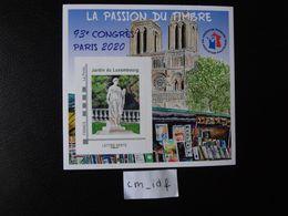 """FRANCE 2020 BLOC FFAP """"LA PASSION DU TIMBRE """" 93ème CONGRÈS PARIS 2020 Lettre VERTE """" JARDIN DU LUXEMBOURG """" NOTRE-DAME - FFAP"""