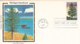 USA 1987 FDC Sc 2246 22c Michigan Statehood Colorano Silk Cachet - Premiers Jours (FDC)
