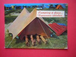 CPM  HUMOUR  CAMPING  A DEUX  VACANCES IDEALES   NON VOYAGEE - Humour