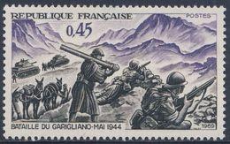 "France Rep. Française 1969 Mi 16""68 YT 1601 Sc 1248 SG 1934 ** Battle Garigliano, 1944 Italy, Maréchal Juin  / Schlacht - 2. Weltkrieg"