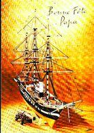 """Grand Voilier Navire Maquette En Bois """" Bonne Fête Papa"""" - Carte Ostale 1960s - Barcos"""