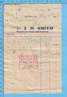 Richmond Quebec -1915 - Facture De Magasin J. D. Smith - Canada
