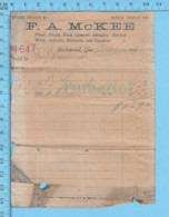 Richmond  Quebec -1915 - Facture Du Magasin F.A. Mckee - Canada