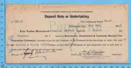 Richmond  Quebec -1911 - Reçu Premier Payement D'assurance ( Richmond, Drummond & Yamaska Mutuel Life - Canada