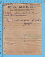 Richmond Quebec -1915 - Facture De Magasin F.A. McKee Avec Signature - Canada