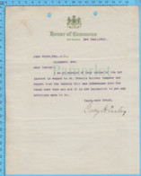 Original ( Filigrane) - Canada House Of Commune 1913 Au Maire De Richmond Quebec , George Halsey Perley - Autographes