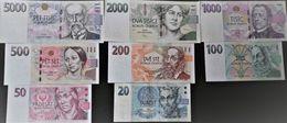 UNC Set Of All Czech Banknotes 20 - 5000 Korun, SELECTION POSSIBLE - Repubblica Ceca