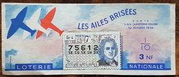 Billet De Loterie Nationale 1963 7e Tranche Groupe 4 - LES AILES BRISÉES - 1/10 Un Dixième - 3 NF - J. J. Rousseau - Lotterielose