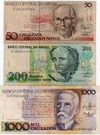 BRAZIL 50/200/1000 CRUZEIROS    CIRC. - Brasile