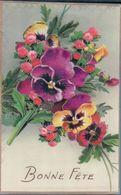 Fleurs Avec Découpis Et Paillettes Bonne Fête - Flores