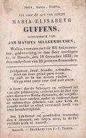 HASSELT Maria-Elisabeth GUFFENS épouse WELKENHUYSEN 22 Ans 1852  DP Souvenir Mortuaire - Obituary Notices