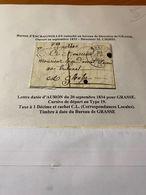LETTRE DATEE D'AURON DU 20/09/1834 Pour  GRASSE -CACHET CL ( Correspondance Locales ) -DESCRIPTIF GENERAL VOIRE SCAN - 1801-1848: Precursors XIX