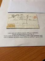 LETTRE DE GARS DU 4 JANVIER 1835 POUR CIPIERES  -cachet Rouge Du Décimal Rural -DESCRIPTIF GENERAL VOIRE SCAN - 1801-1848: Precursors XIX