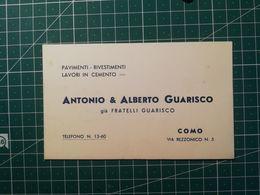 Cartolina Pubblicitaria / Commerciale Pavimenti Rivestimenti Cemento Guarisco - Como - Marca Da Bollo 1 Lira - Italia