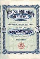 Titre Ancien - Mines D'Antimoine De Mérinchal - Société Anonyme  - Titre De 1906 - - Mines