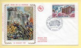 FDC N° 1680 - Prise De La Bastille (14 Juillet 1789) - 75 Paris 10/07/1971 (soie) - FDC