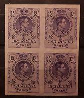 ESPAGNE / ESPANA / SPAIN / SPANIEN 1909 Alfonso XIII,Yvert No 245, BLOC DE 4 ,15 C Violet NON DENTELE IMPERFORATE, TTB - Variedades & Curiosidades
