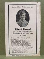 Sterbebild, WW2. Alfred Haenel. Erschossen 1944 In Estland - 1939-45