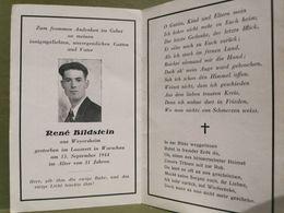 Sterbebild, WW2. René Bildstein Gestorben Im Lazarett In Warschau - 1939-45