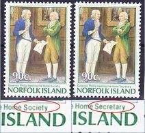 "Norfolk Island 1986 Colonisation Bicentenary Mi 395 I+II Wrong + Right Text ""society"" Vs ""secretary"" MNH ** - Norfolk Island"