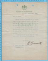 Original ( Filigrane) - House Of Commune Canada 1913 Au Maire De Richmond Quebec, Patronage Federal - Documents Historiques