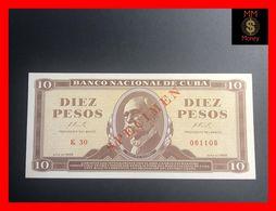 """CUBA 10 Pesos  1966  P. 101  """"SPECIMEN""""   RARE   UNC - Kuba"""
