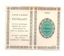 Petit Calendrier 1967Parfum Dédicace Cheramy - André & Robert Fayollet Institut Artistique Clermont-Ferrand - Calendriers