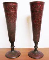 COPPIA DI BICCHIERI CALICI OTTONE INDIANI VINTAGE - Asian Art