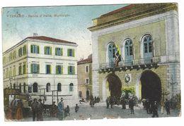 CLA149 - TERAMO BANCA D' ITALIA MUNICIPIO ANIMATA DISEGNATA COLORATA 1915 - Teramo