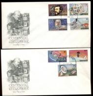 Grenada 1976 Telephone Centenary, Alexander Graham Bell 2x FDC - Grenada (1974-...)