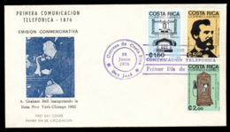Costa Rica 1976 Telephone Centenary, Alexander Graham Bell FDC - Costa Rica