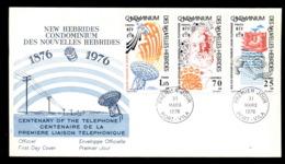 New Hebrides (Fr) 1976 Telephone Centenary, Alexander Graham Bell FDC - FDC