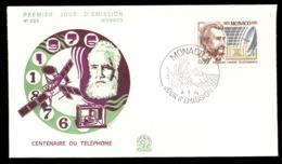 Monaco 1976 Telephone Centenary, Alexander Graham Bell FDC - FDC