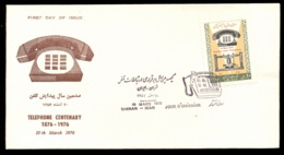 Middle East 1976 Telephone Centenary, Alexander Graham Bell FDC - Irán