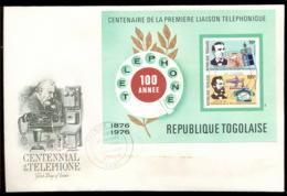 Togo 1976 Telephone Centenary, Alexander Graham Bell MS XLFDC - Togo (1960-...)