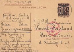 GG Russland: Ganzsache Kielce Nach Brest Litowski, Zensur, Bug - Occupation 1938-45
