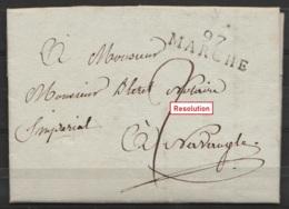 """L. Datée 10 Octobre 1813 De LA ROCHE Pour Notaire """"impérial"""" à NAVAUGLE - Griffe """"97/ MARCHE"""" - Port """"2"""" - 1794-1814 (Période Française)"""