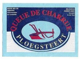 BIERE QUEUE DE CHARRUE AMBREE AMBER - ETIQUETTE ANCIENNE BRASSERIE QUEUE DE CHARRUE A PLOEGSTEERT BELGIQUE - A VOIR - Beer