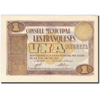 Billet, Espagne, LES FRANQUESES, 1 Peseta, Blason, 1937, 1937, SUP+ - Spanien