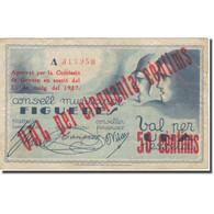 Billet, Espagne, FIGUERES, 50 Centimes, Personnage, 1937, 1937, TB+ - Spanien