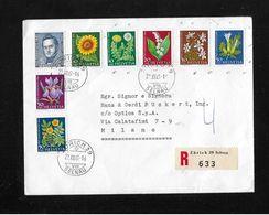 1960 / 1961 PRO JUVENTUTE →  R-Satzbrief Mit ZuF (Mischfrankatur) Von Zürich Nach Milano  ►SBK-J184,J186,J187,J188-J192◄ - Pro Juventute