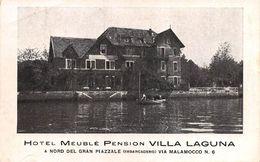 "010696 ""LIDO DI VENEZIA - HOTEL MEUBLE PENSION VILLA LAGUNA"" ANIMATA, BARCA.  CART SPED 1941 - Hotels & Restaurants"