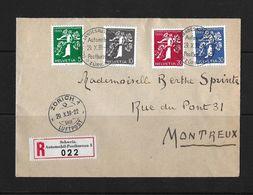 1939 LANDESAUSSTELLUNG → R-Brief Zürich Schweiz. Automobil-Postbureau 3 Nach Montreux    ►SBK-228z - 231◄ - Suisse