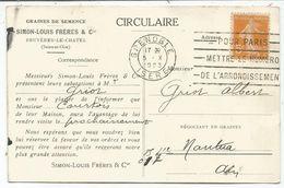 SEMEUSE 5C JAUNE CARTE CIRCULAIRE GRAINES SEMENCE SIMON BRUYERES LE CHATEL SEINE ET OISE 1923 - 1906-38 Sower - Cameo