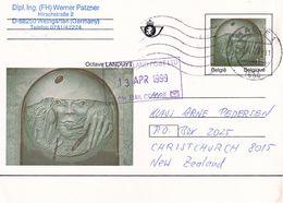 Belgium Belgie 1999 Stationery Card: Art Paintings P492: Octave Laduyt Art Sculpture; - Stamped Stationery