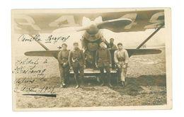 AVION Et MILITAIRES,  Camille Bergay...Carte Photo....(Photo De 5 Militaires Posant Devant Un Avion à STRASBOURG) - Militaria
